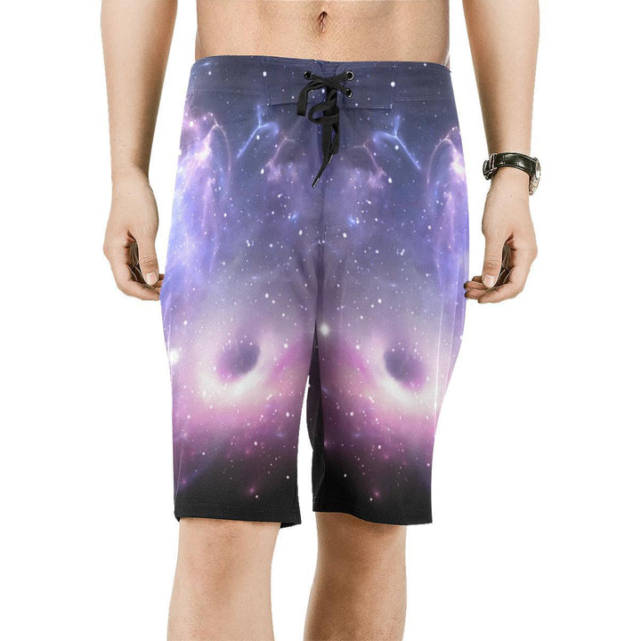 Dark Light Purple Galaxy Space Print Men's Board Shorts GearFrost