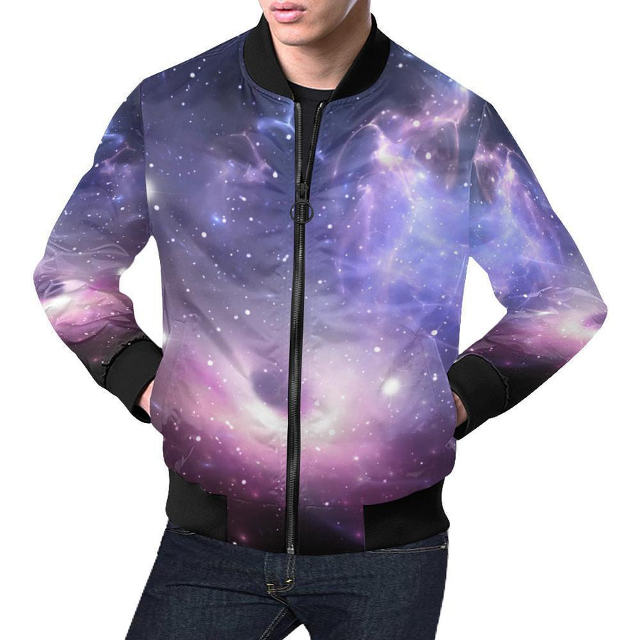 Dark Light Purple Galaxy Space Print Men's Bomber Jacket GearFrost