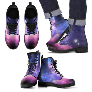 Dark Light Purple Galaxy Space Print Men's Boots GearFrost