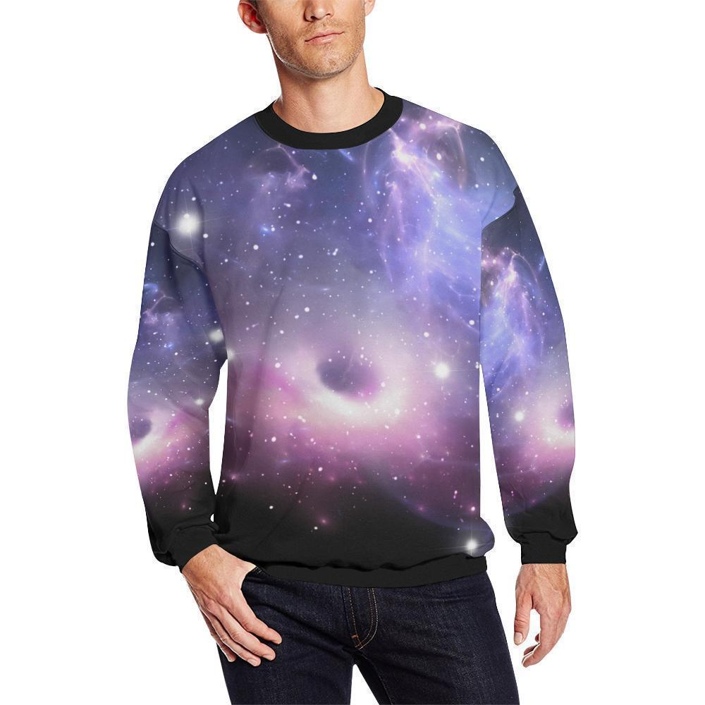 Dark Light Purple Galaxy Space Print Men's Crewneck Sweatshirt GearFrost