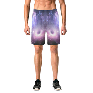 Dark Light Purple Galaxy Space Print Men's Elastic Board Shorts GearFrost