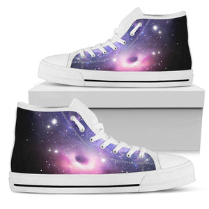 Dark Light Purple Galaxy Space Print Men's High Top Shoes GearFrost