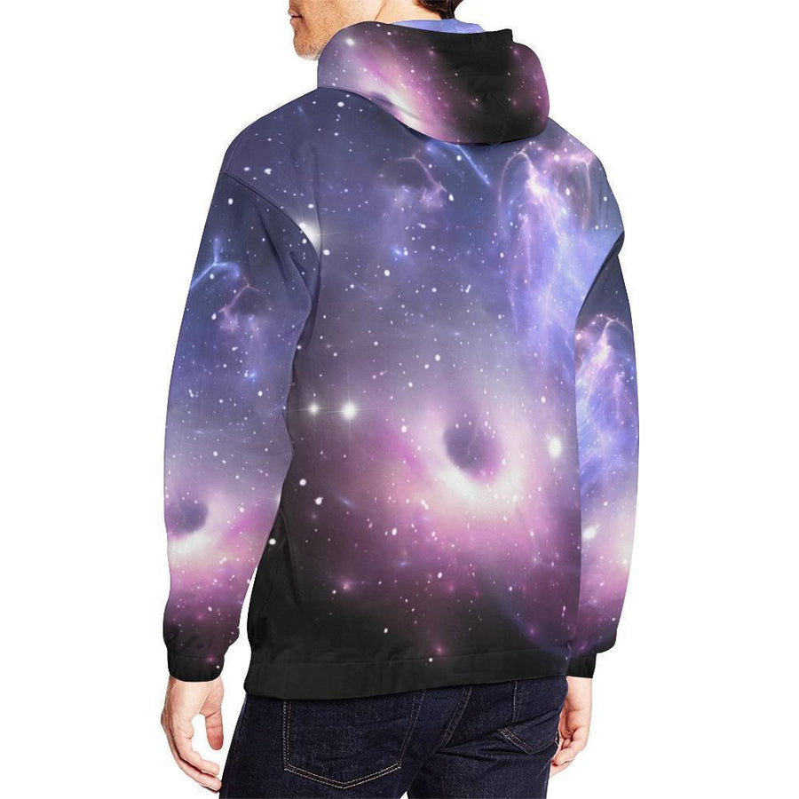 Dark Light Purple Galaxy Space Print Men's Pullover Hoodie GearFrost