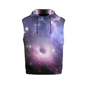 Dark Light Purple Galaxy Space Print Men's Sleeveless Hoodie GearFrost