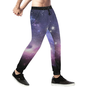 Dark Light Purple Galaxy Space Print Men's Sweatpants GearFrost