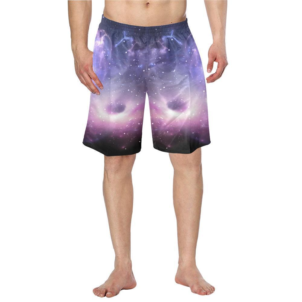 Dark Light Purple Galaxy Space Print Men's Swim Trunks GearFrost