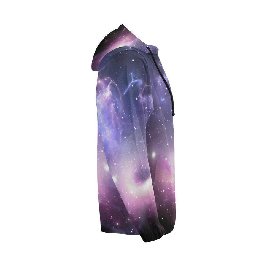 Dark Light Purple Galaxy Space Print Men's Zip Up Hoodie GearFrost