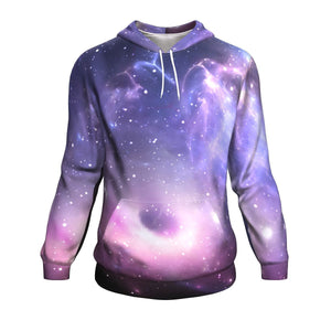 Dark Light Purple Galaxy Space Print Unisex Pullover Hoodie GearFrost