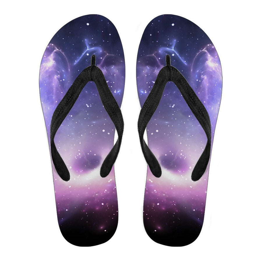 Dark Light Purple Galaxy Space Print Women's Flip Flops GearFrost