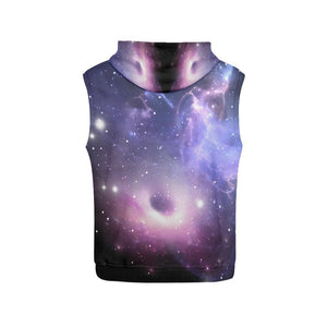 Dark Light Purple Galaxy Space Print Women's Sleeveless Hoodie GearFrost