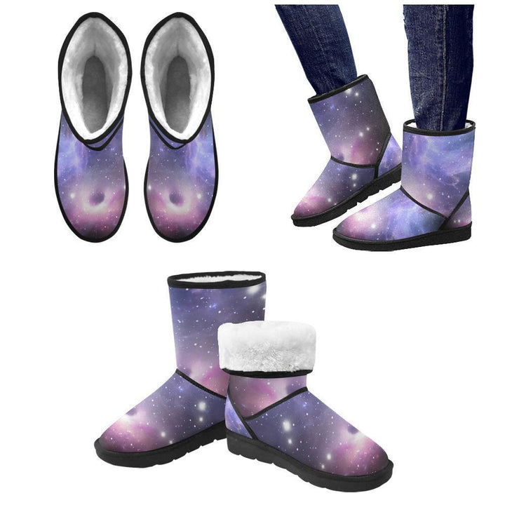 Dark Light Purple Galaxy Space Print Women's Snow Boots GearFrost