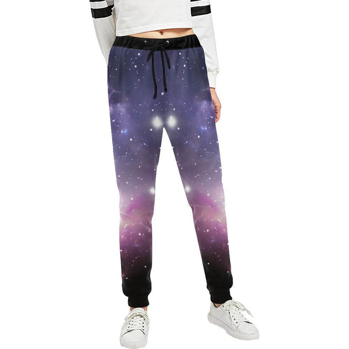 Dark Light Purple Galaxy Space Print Women's Sweatpants GearFrost