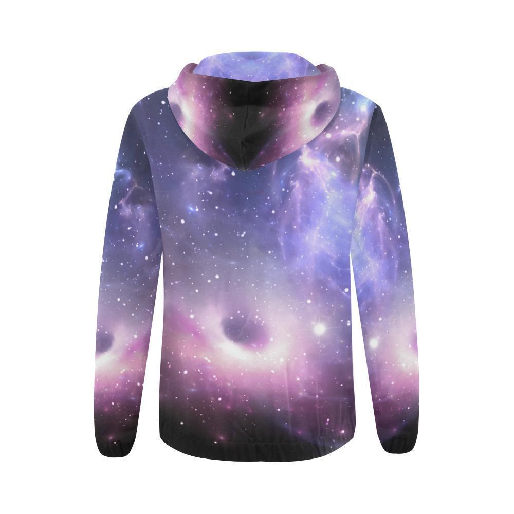 Dark Light Purple Galaxy Space Print Women's Zip Up Hoodie GearFrost