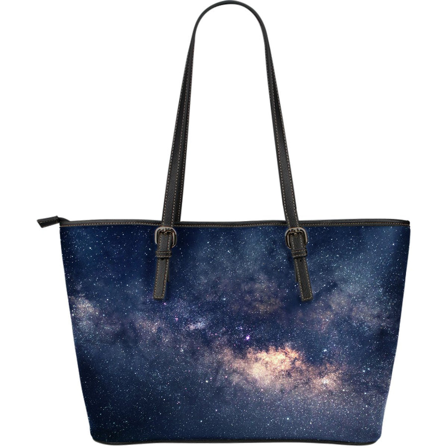 Dark Milky Way Galaxy Space Print Leather Tote Bag GearFrost