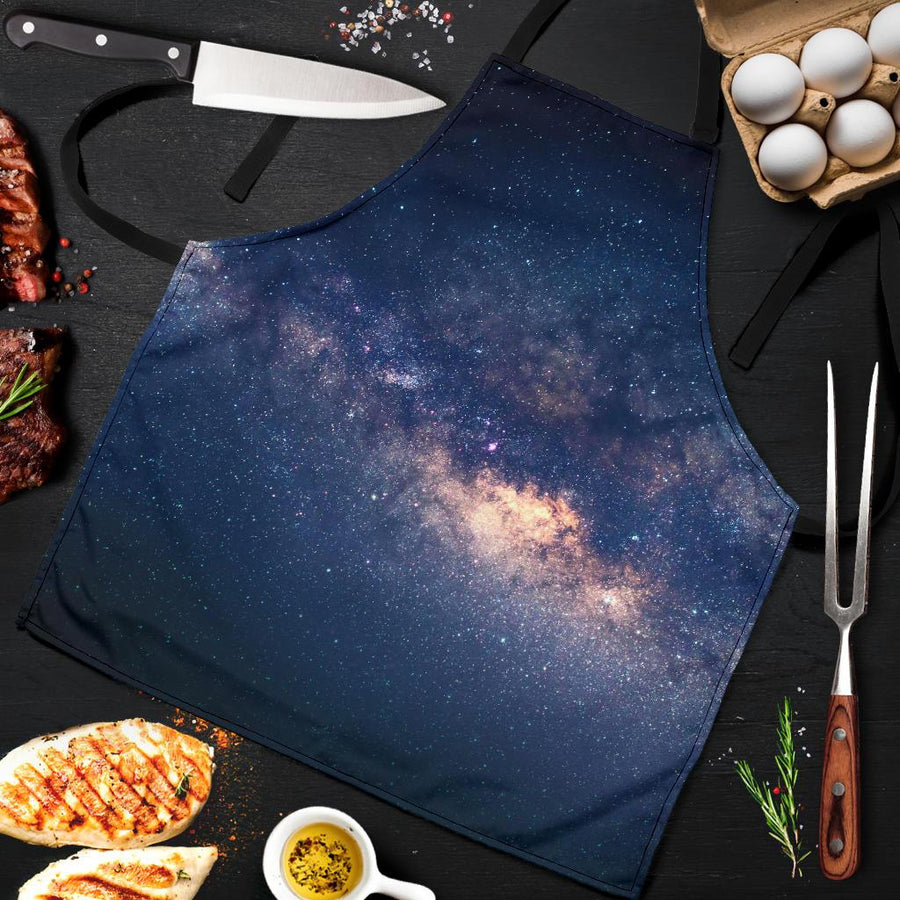 Dark Milky Way Galaxy Space Print Men's Apron GearFrost