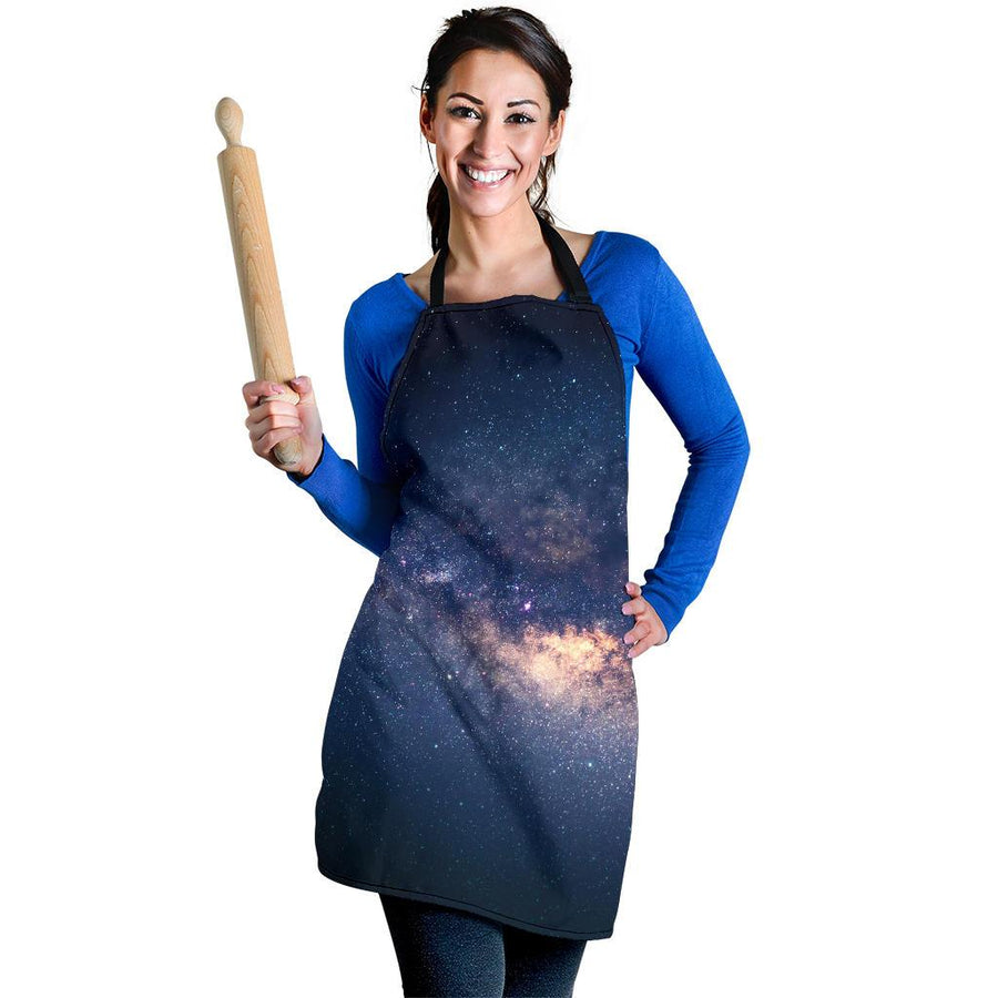 Dark Milky Way Galaxy Space Print Women's Apron GearFrost