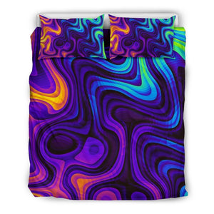 Dark Psychedelic Trippy Print Duvet Cover Bedding Set GearFrost