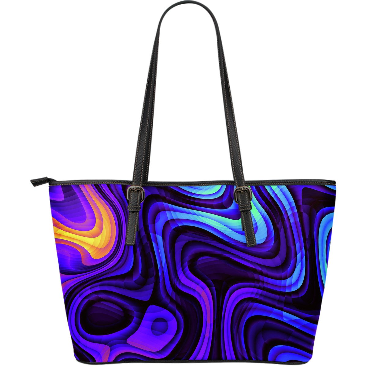Dark Psychedelic Trippy Print Leather Tote Bag GearFrost