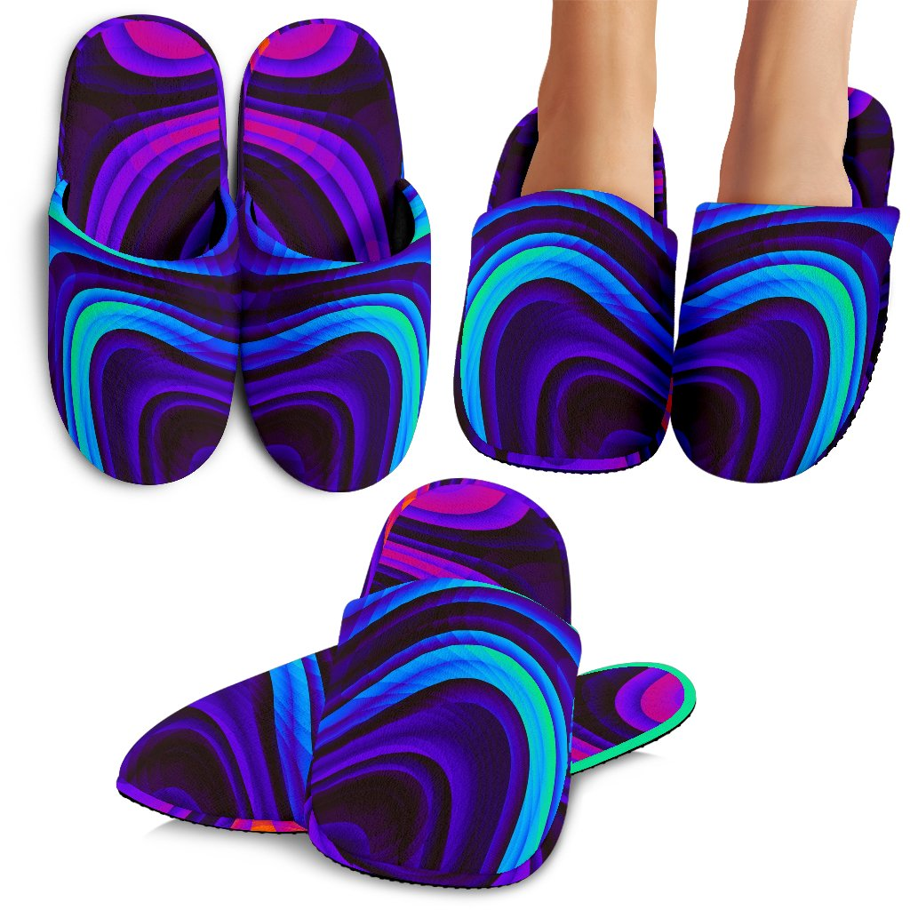 Dark Psychedelic Trippy Print Slippers GearFrost