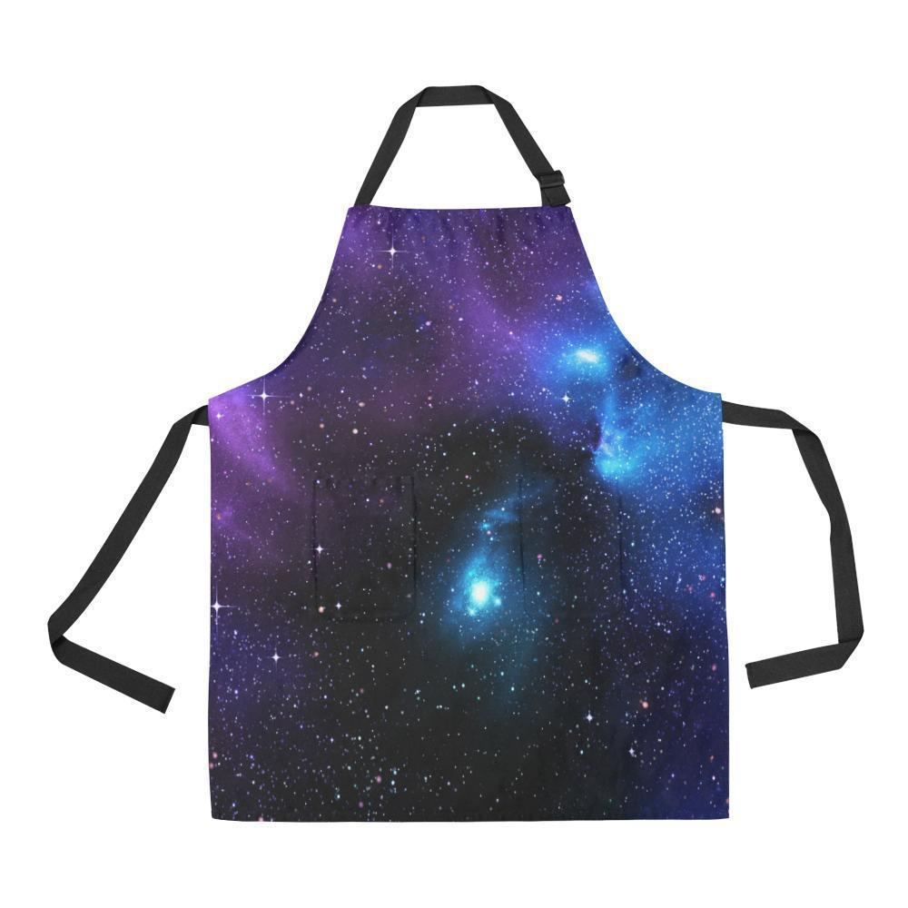 Dark Purple Blue Galaxy Space Print Bib Apron With Pockets GearFrost