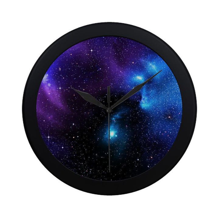 Dark Purple Blue Galaxy Space Print Black Wall Clock GearFrost