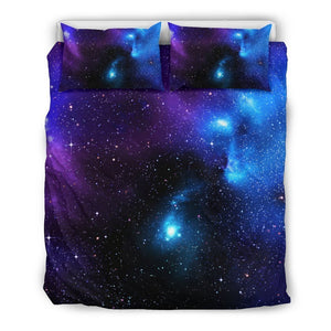 Dark Purple Blue Galaxy Space Print Duvet Cover Bedding Set GearFrost