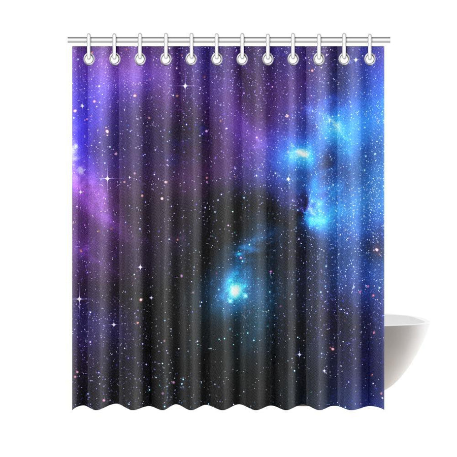 Dark Purple Blue Galaxy Space Print Extra Long Shower Curtain GearFrost