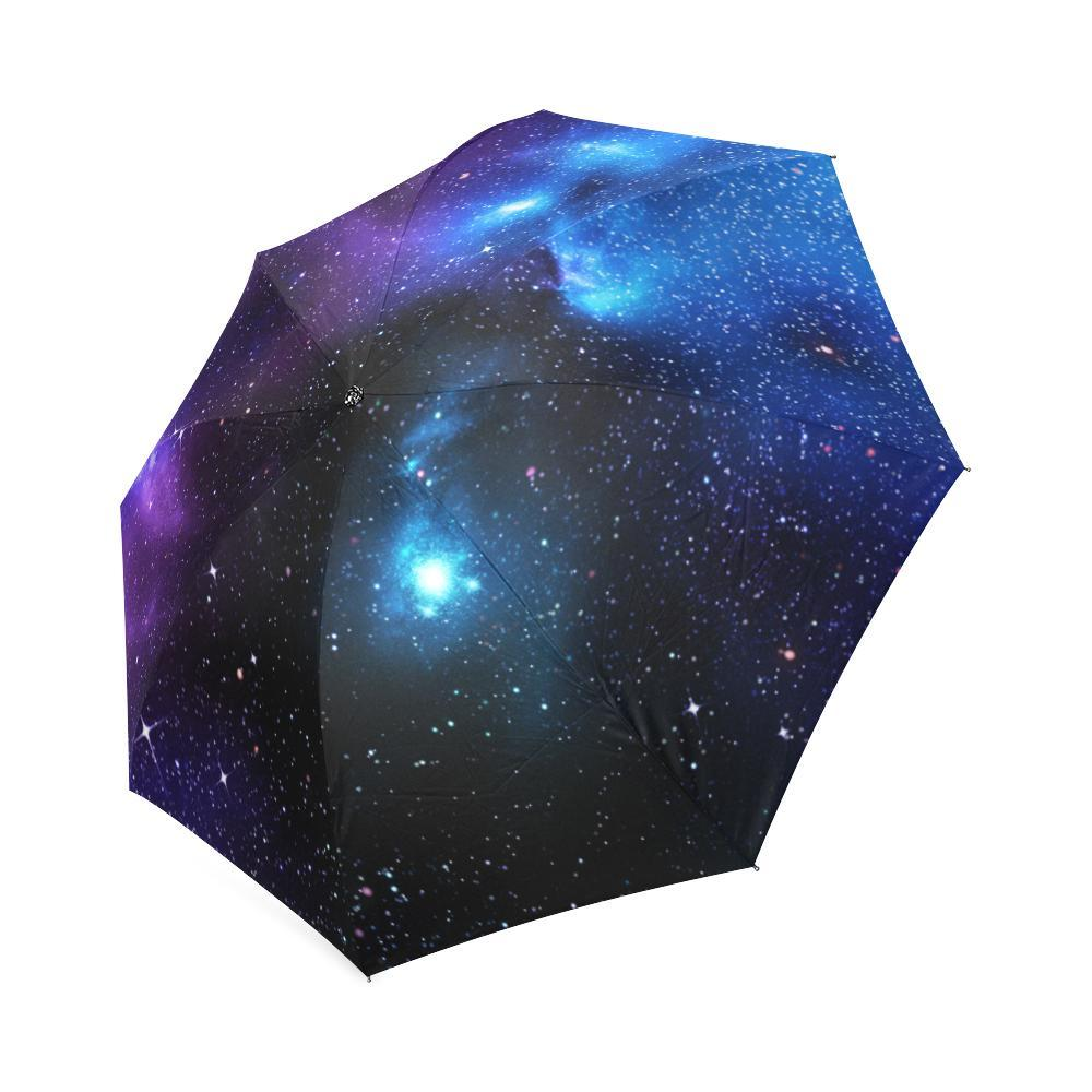 Dark Purple Blue Galaxy Space Print Foldable Umbrella GearFrost