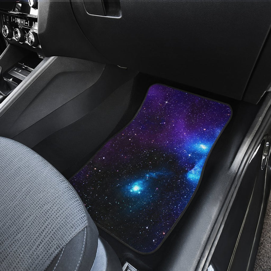 Dark Purple Blue Galaxy Space Print Front and Back Car Floor Mats GearFrost