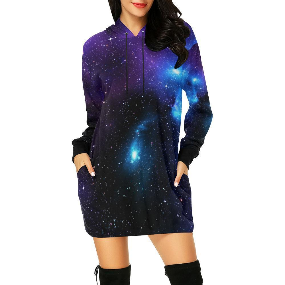 Dark Purple Blue Galaxy Space Print Hoodie Dress GearFrost