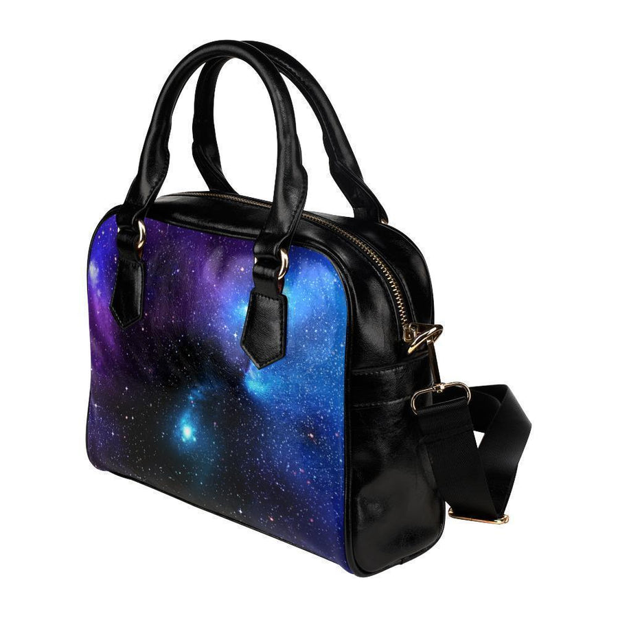 Dark Purple Blue Galaxy Space Print Leather Shoulder Handbag GearFrost