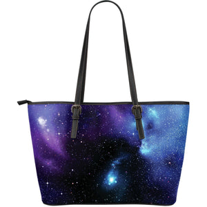 Dark Purple Blue Galaxy Space Print Leather Tote Bag GearFrost