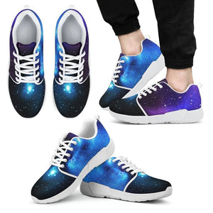 Dark Purple Blue Galaxy Space Print Men's Athletic Shoes GearFrost