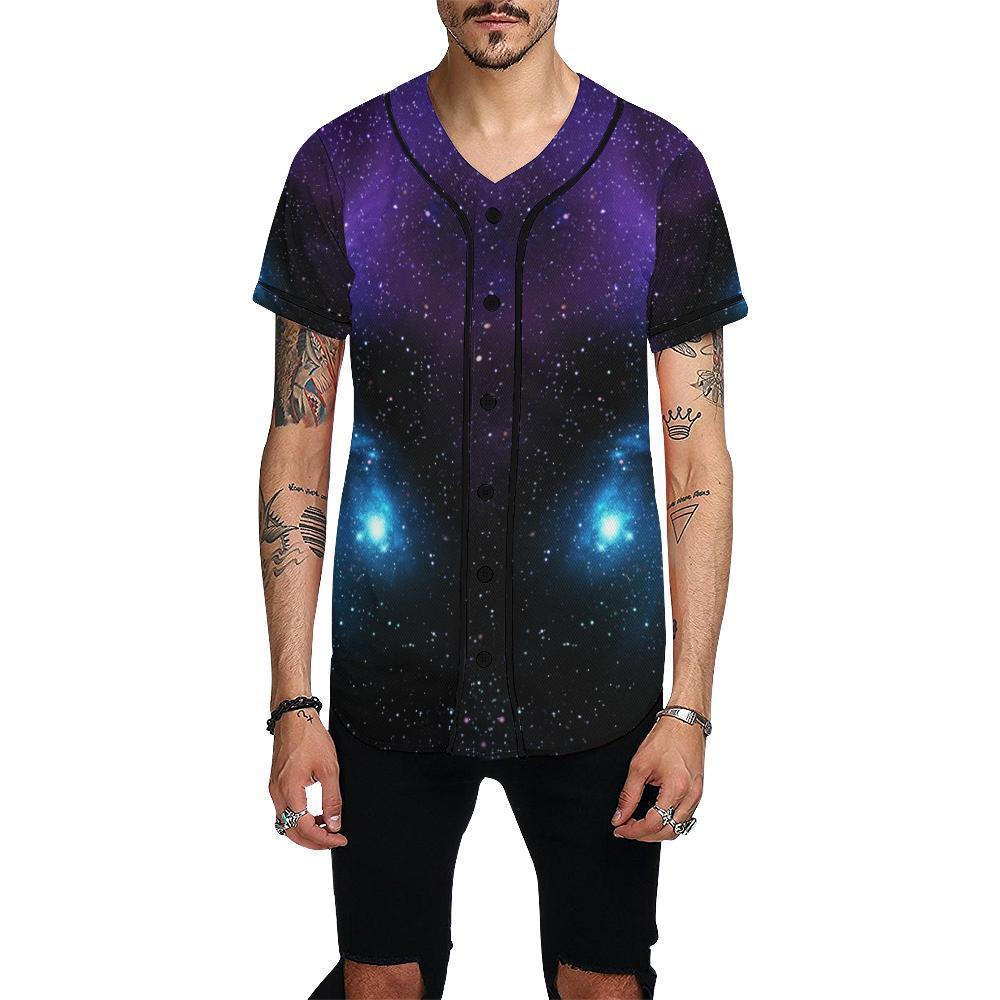 Dark Purple Blue Galaxy Space Print Men's Baseball Jersey GearFrost