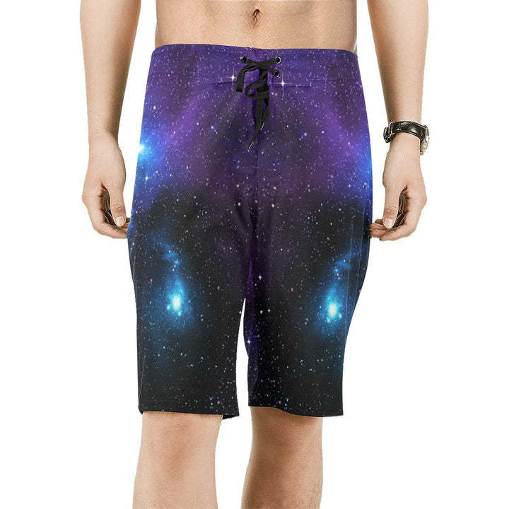 Dark Purple Blue Galaxy Space Print Men's Board Shorts GearFrost