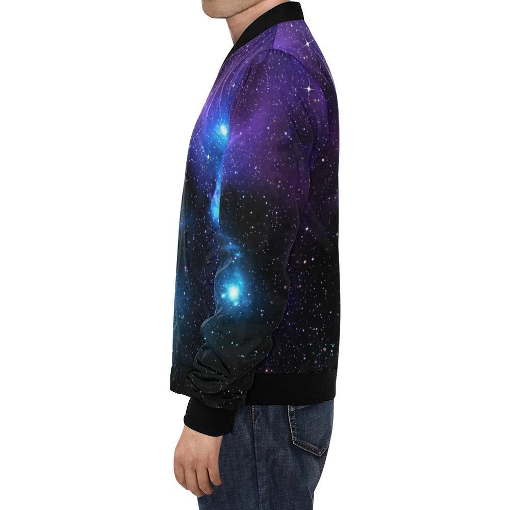 Dark Purple Blue Galaxy Space Print Men's Bomber Jacket GearFrost