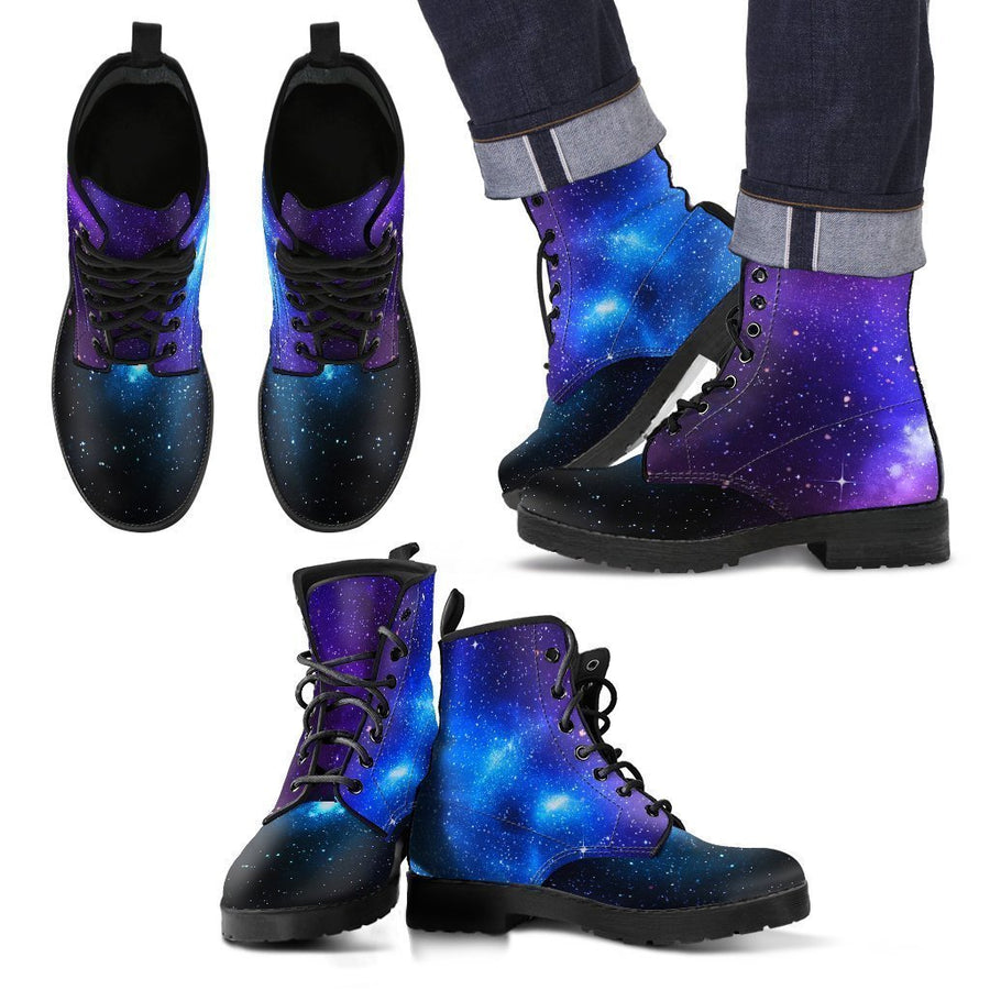 Dark Purple Blue Galaxy Space Print Men's Boots GearFrost