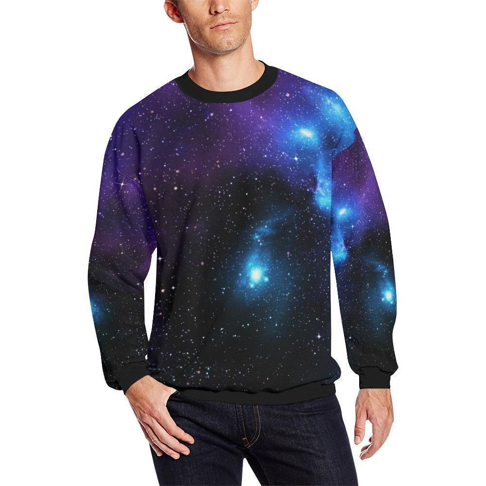Dark Purple Blue Galaxy Space Print Men's Crewneck Sweatshirt GearFrost