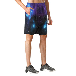 Dark Purple Blue Galaxy Space Print Men's Elastic Board Shorts GearFrost