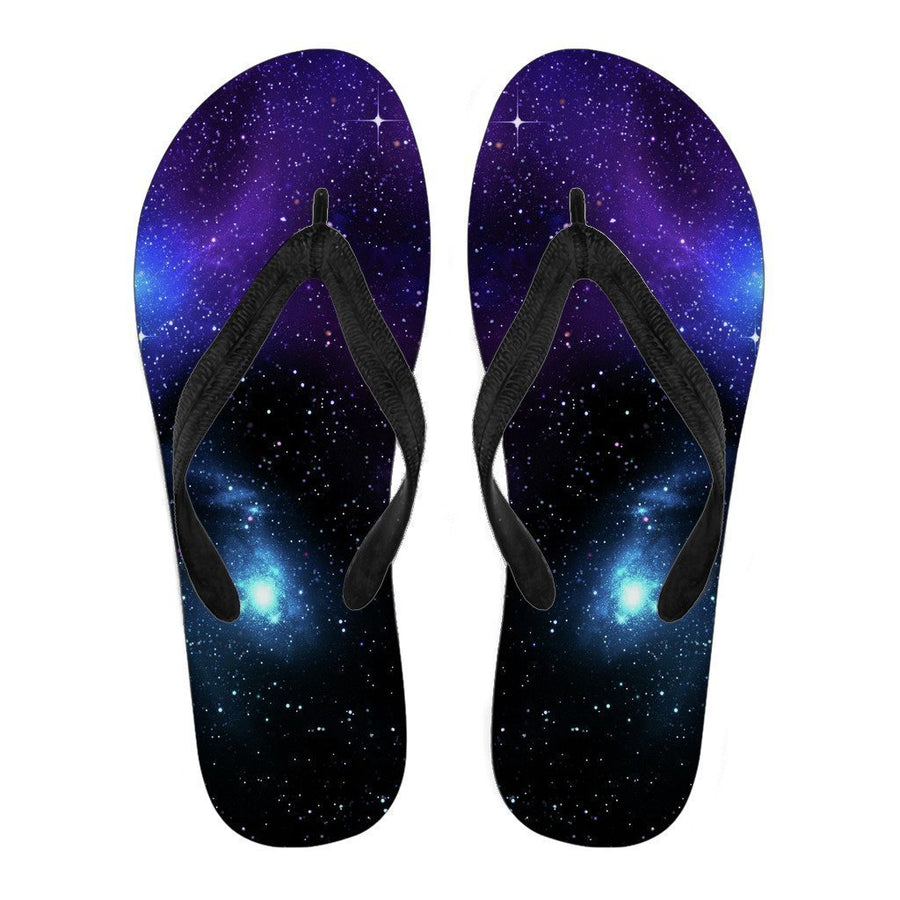 Dark Purple Blue Galaxy Space Print Men's Flip Flops GearFrost