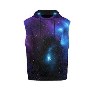 Dark Purple Blue Galaxy Space Print Men's Sleeveless Hoodie GearFrost
