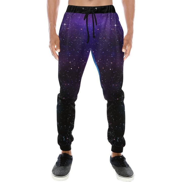 Dark Purple Blue Galaxy Space Print Men's Sweatpants GearFrost