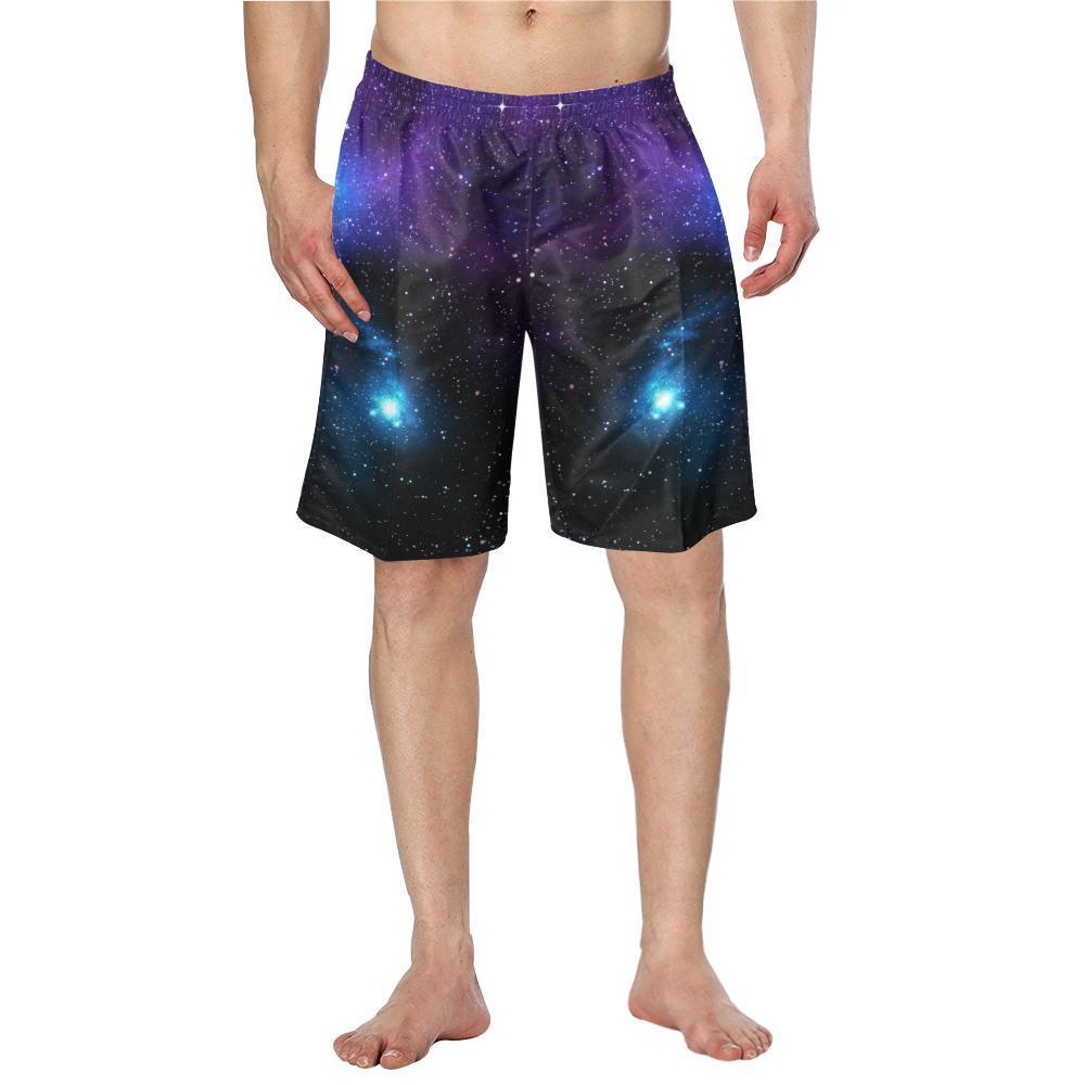 Dark Purple Blue Galaxy Space Print Men's Swim Trunks GearFrost