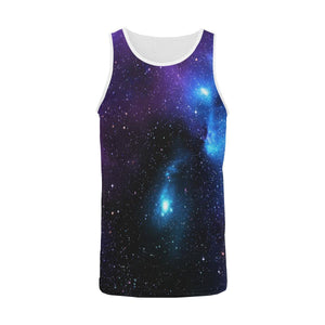 Dark Purple Blue Galaxy Space Print Men's Tank Top GearFrost