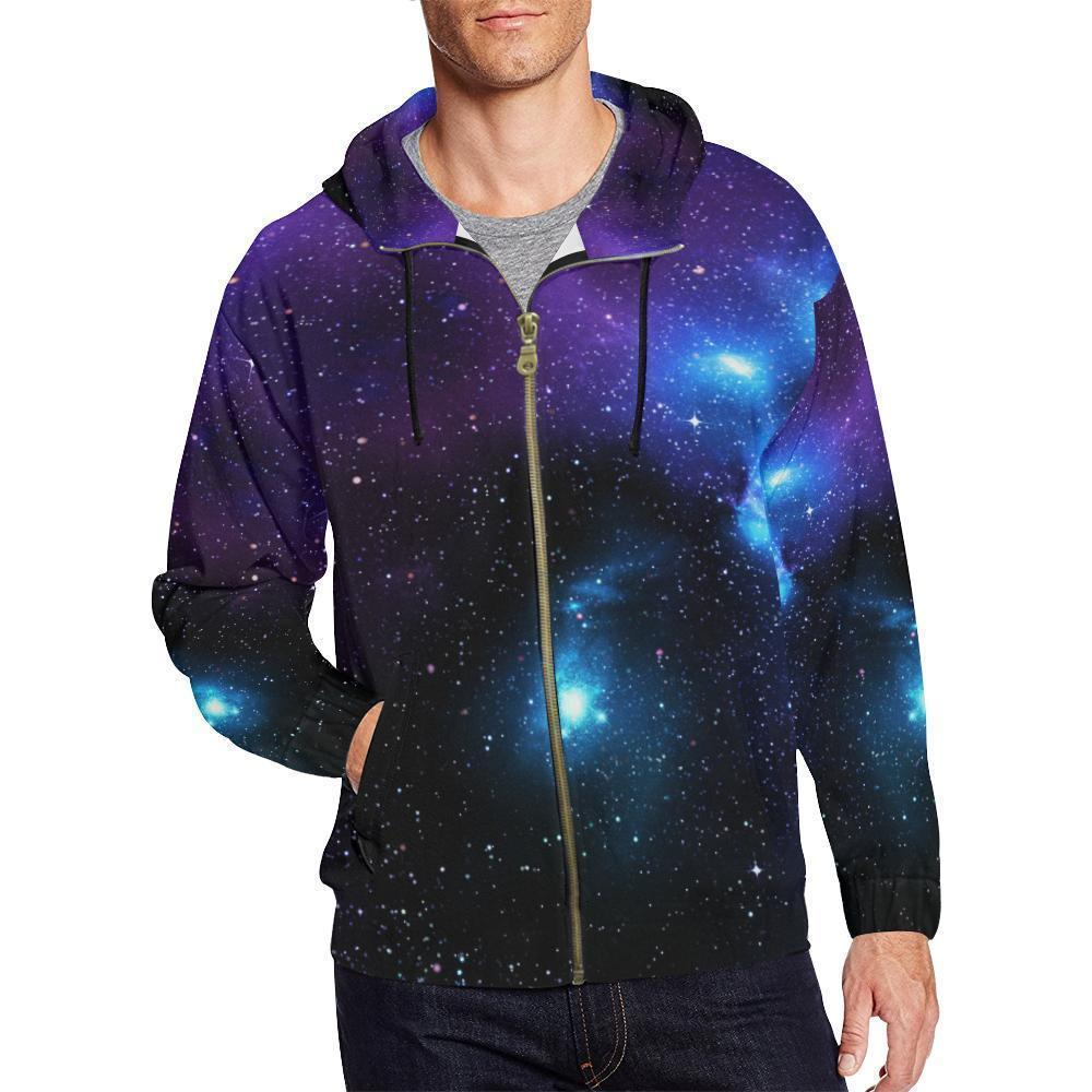 Dark Purple Blue Galaxy Space Print Men's Zip Up Hoodie GearFrost
