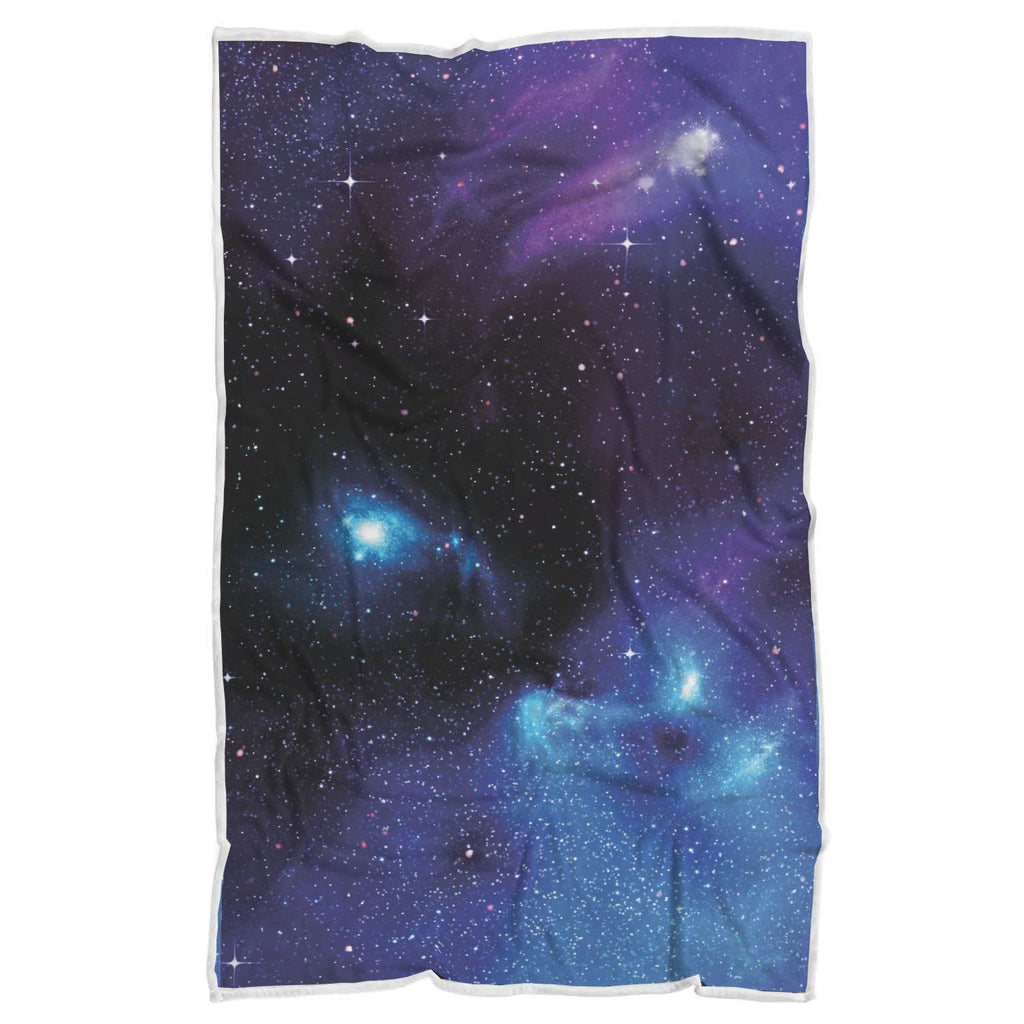 Dark Purple Blue Galaxy Space Print Sherpa Blanket GearFrost
