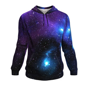 Dark Purple Blue Galaxy Space Print Unisex Pullover Hoodie GearFrost
