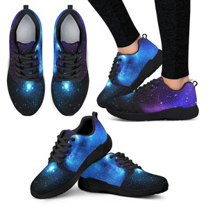 Dark Purple Blue Galaxy Space Print Women's Athletic Shoes GearFrost