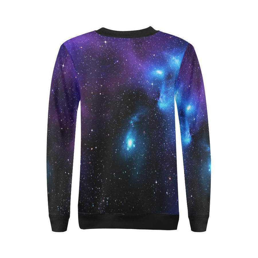 Dark Purple Blue Galaxy Space Print Women's Crewneck Sweatshirt GearFrost