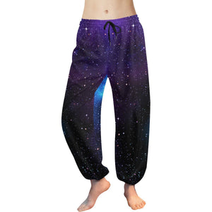Dark Purple Blue Galaxy Space Print Women's Harem Pants GearFrost